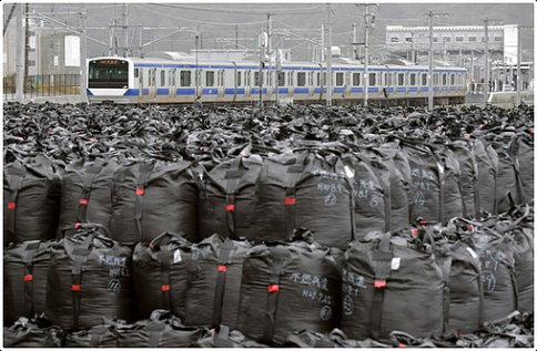 Radioactive waste bags and train passing