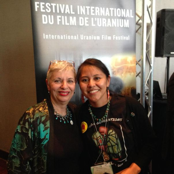 With Leona Morgan at 2015 International Uranium Film Festival, Quebec