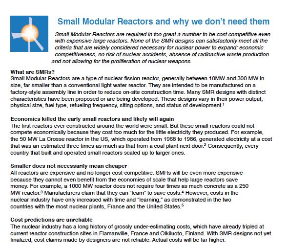 SMR fact sheet excerpt