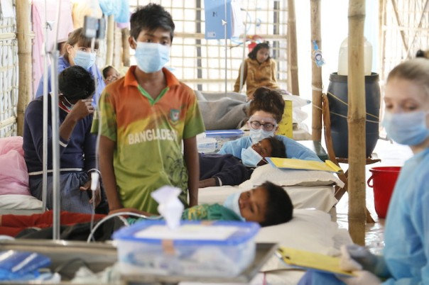 British nurses treating Rohingya children suffering from diphtheria in Bangladesh.