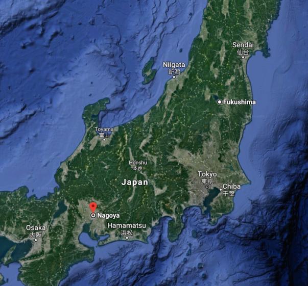 Fukushima Nagoya map