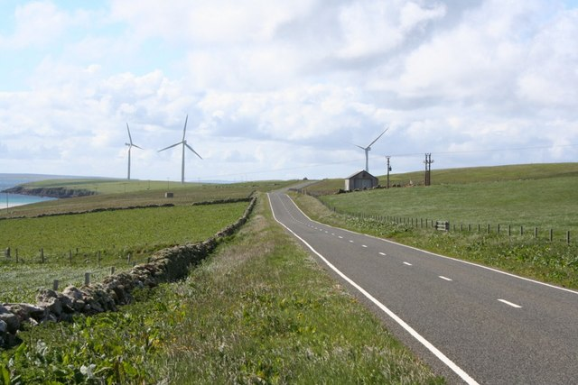 A renewable energy boom on Orkney Spurness_peninsula_and_windfarm_sanday_orkney_-_geograph.org_.uk_-_128689